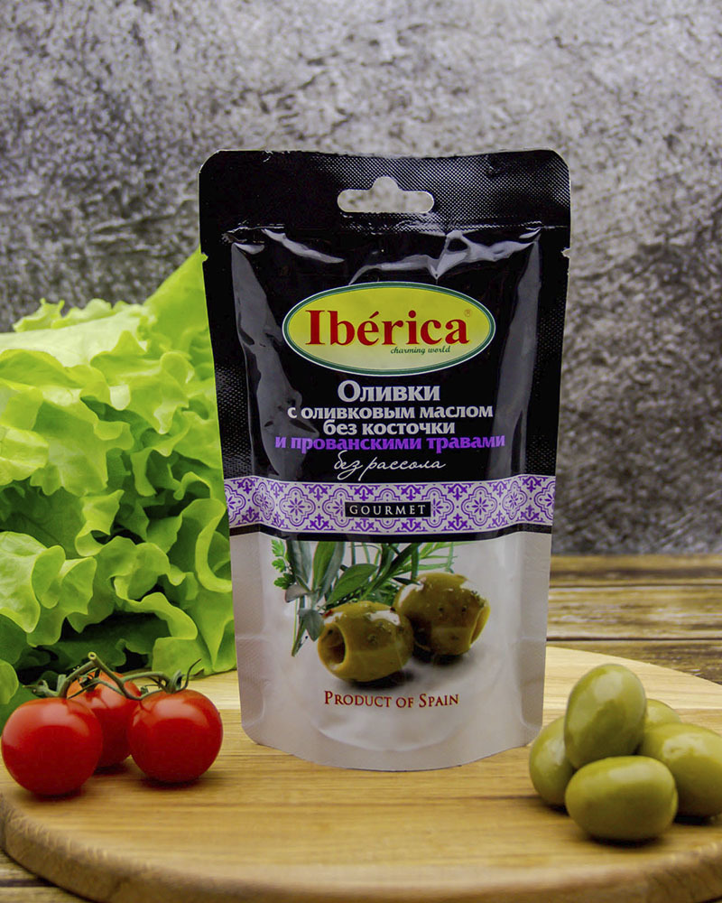 Оливки Iberica с оливковым маслом и прованскими травами без косточки (без рассола) 70 гр.