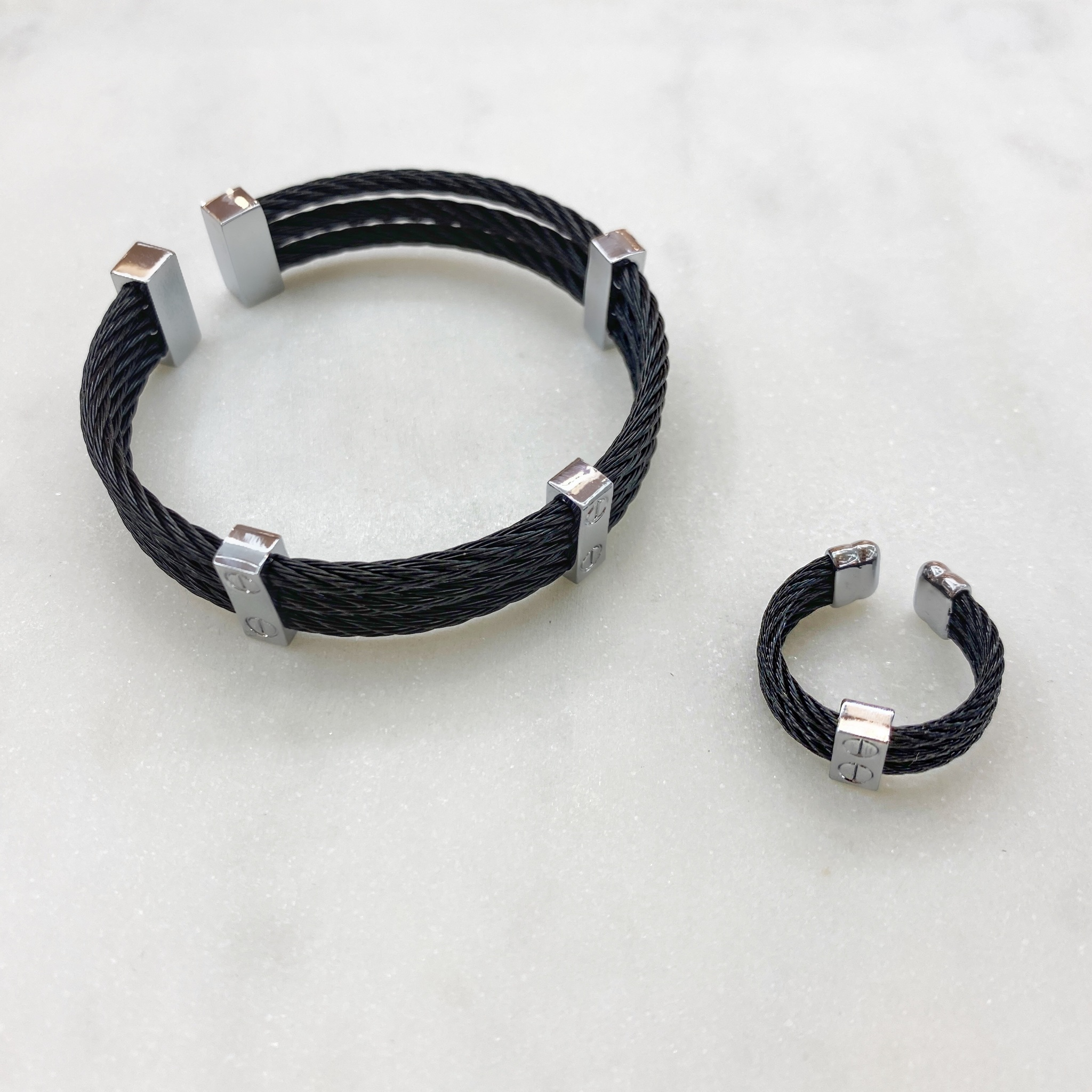 К-т Браслет и Кольцо, кабельный трехрядный, сталь (черный)