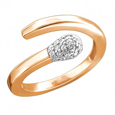 01К1113179 - Кольцо-спичка из золота 585 пробы с фианитами