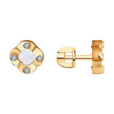 1021602 - Серьги из золота с бриллиантами и перламутром