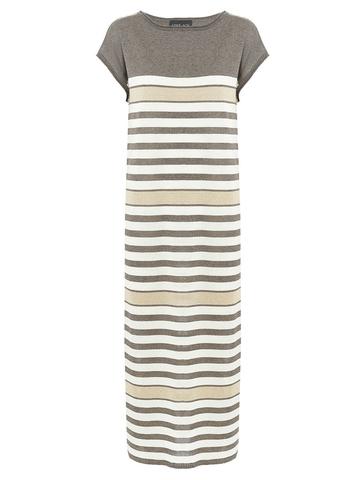 Женское платье в полоску молочно-коричневого цвета из вискозы - фото 1