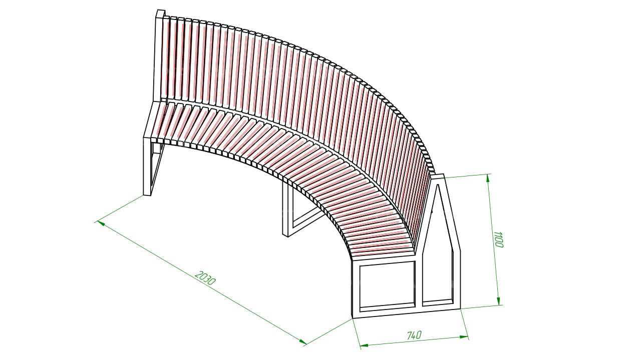 Полукруглая скамейка SCAM0008