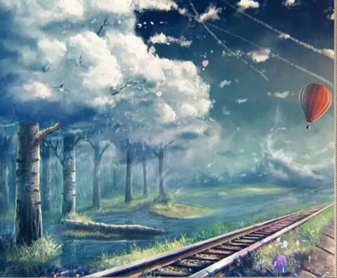 Алмазная Мозаика 40x50 Железная дорога в необычном мире (арт. SGJ73272)