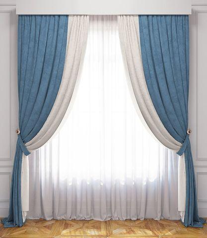 Комплект штор и покрывало Ламанш бело-голубой