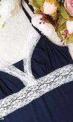 Евромама. Комплект халат и сорочка с кружевом из вискозы, темно-синий вид 7