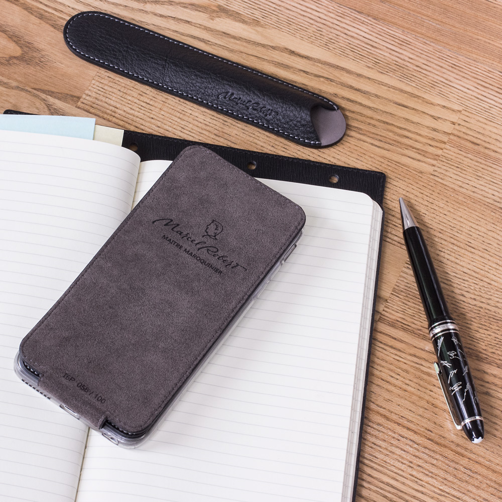 Чехол для iPhone 6/6S Plus из натуральной кожи теленка, черного цвета