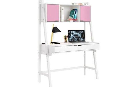 Стол письменный Polini kids Mirum 1446 высокий с полкой, белый/двери розовые