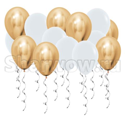 Воздушные шары под потолок Золото хром и белый