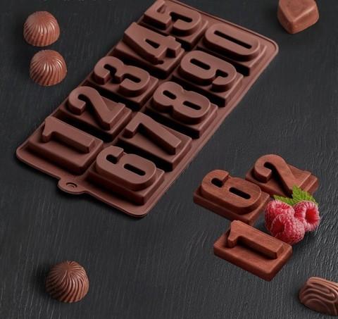 Форма для льда и шоколада «Цифры», 20×11 см, 10 ячеек