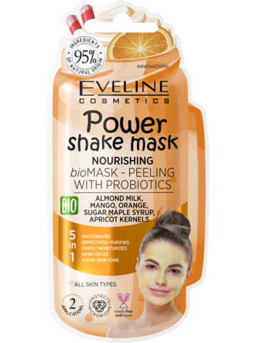 EVELINE POWER SHAKE MASK Питательная bio маска-пилинг с пробиотиками 10мл (*12*60)