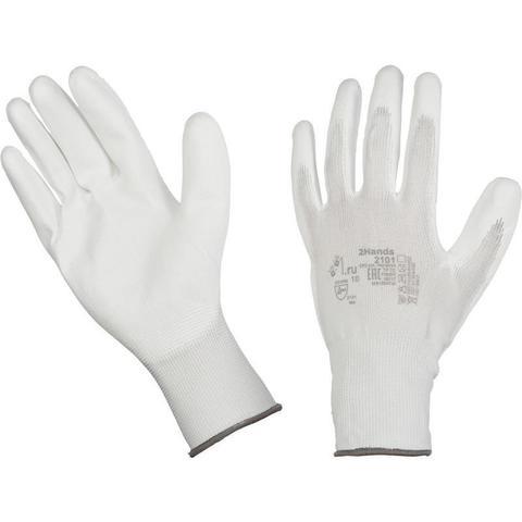 Перчатки рабочие трикотажные нейлоновые с полиуретановым покрытием (размер 7, S)