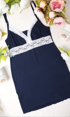 Евромама. Комплект халат и сорочка с кружевом из вискозы, темно-синий вид 8
