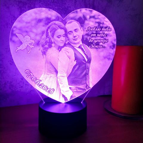 Фото-светильник в форме сердца + надпись