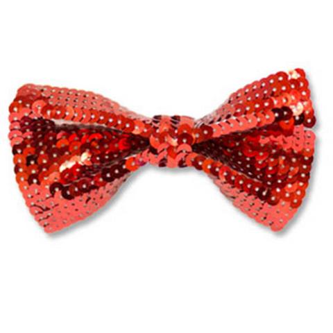Галстук-бабочка с пайетками красный/G