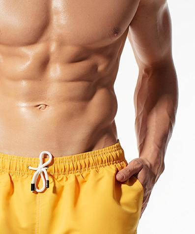Укороченные шорты пляжные мужские KMB-180 Желтые