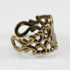 Винтажная основа для кольца с узором на площадке (оксид латуни)