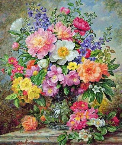 Алмазная Мозаика 40x50 Разноцветный букет в прозрачной вазе