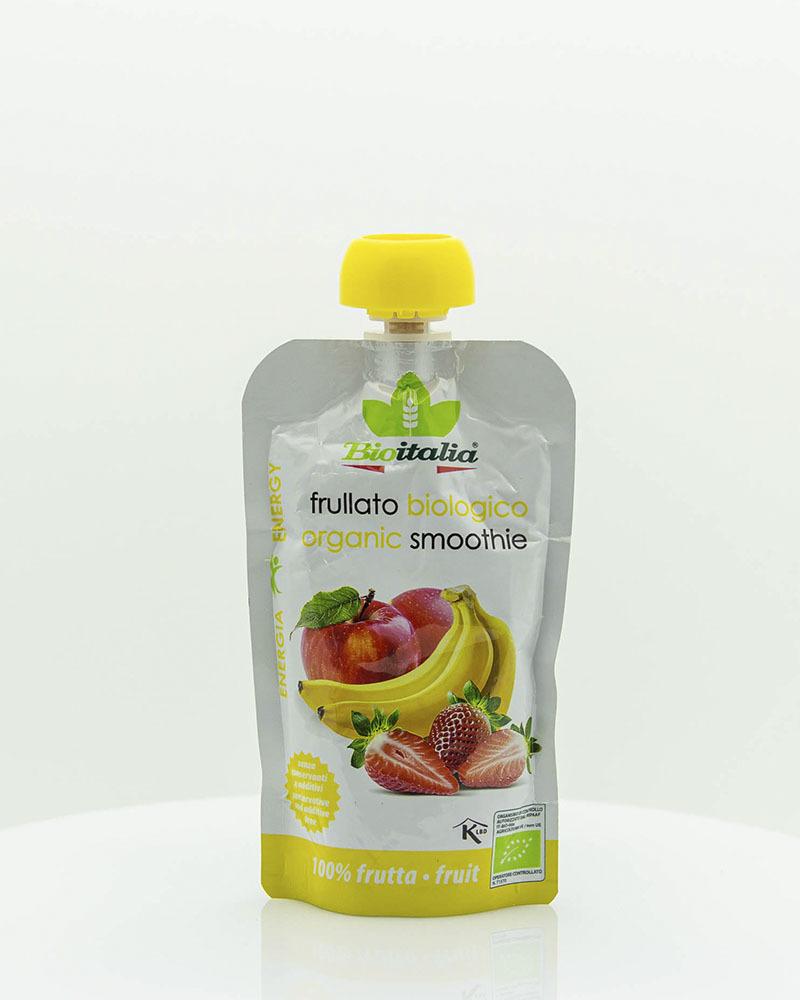 Пюре Bioitalia из яблока, клубники и банана-смузи 120 гр.
