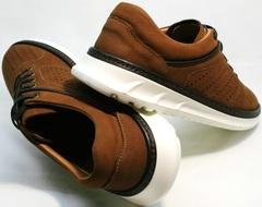 Кожаные коричневые кроссовки туфли мужские с перфорацией Vitto Men Shoes 1830 Brown White