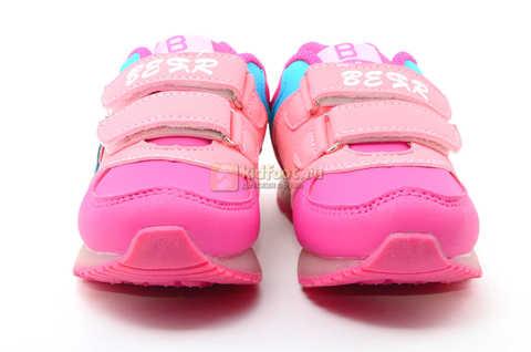 Светящиеся кроссовки Бебексия (BEIBEIXIA) для девочек, цвет розовый, светится вся подошва. Изображение 4 из 10.