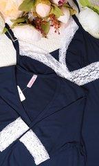Евромама. Комплект халат и сорочка с кружевом из вискозы, темно-синий вид 6