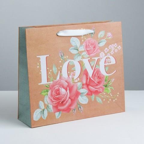 Пакет крафтовый горизонтальный «Цветочная любовь», ML 27 × 23 × 8 см