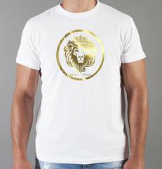 Футболка с принтом Лев (Lion) белая 0013