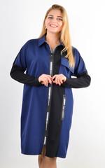 Сабина. Женская рубашка на молнии больших размеров. Синий.