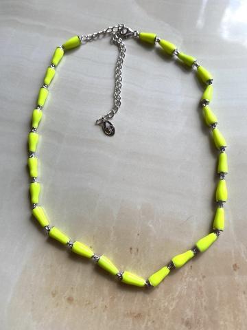 Колье Бонго желтое, серебряный цвет