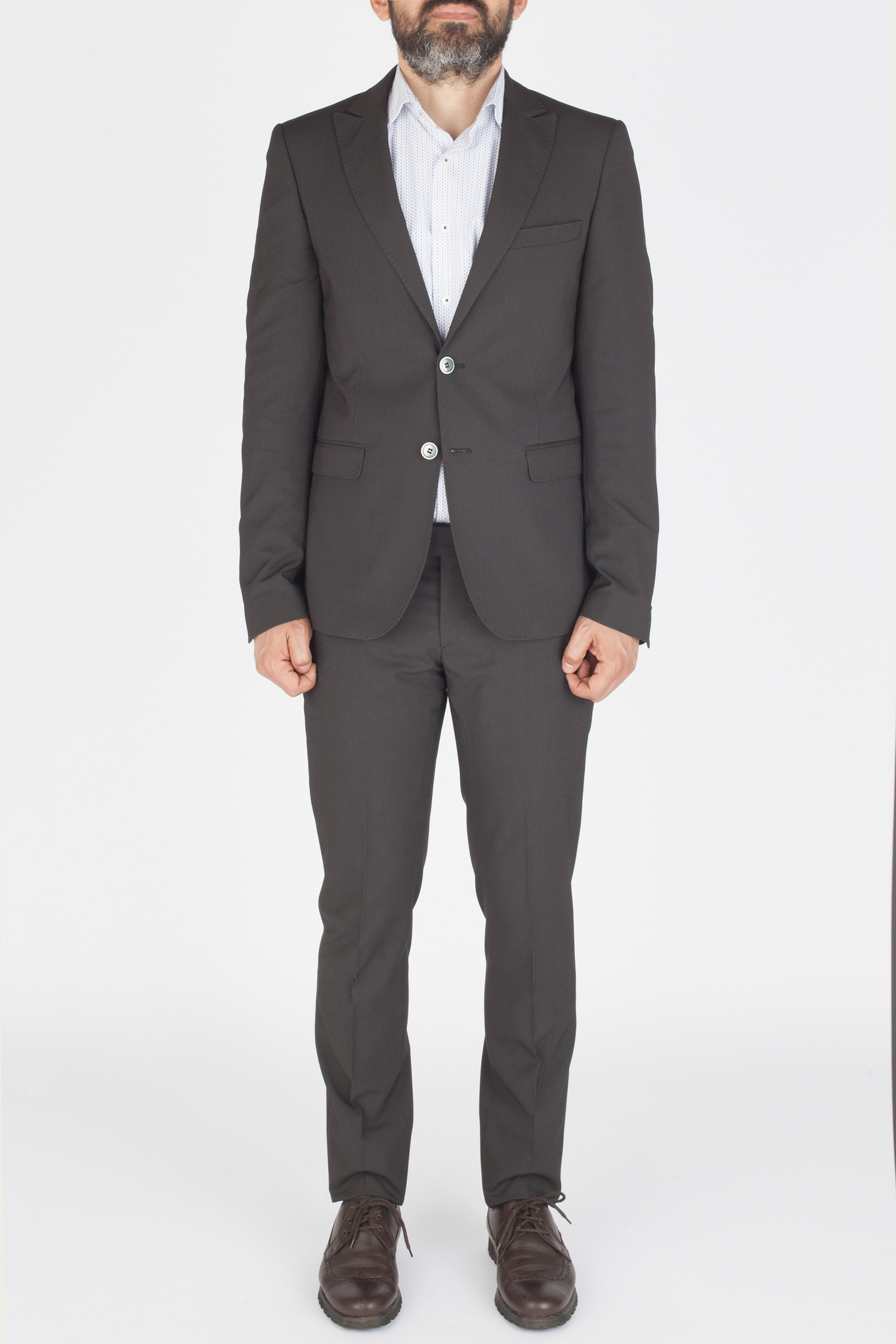 Тёмно-серый шерстяной костюм в полоску