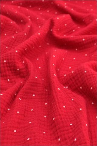 Ткань муслиновая, горох на красном редкий
