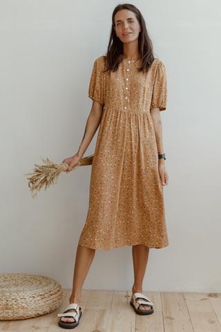 Платье миди с пуговицами на груди, песочный
