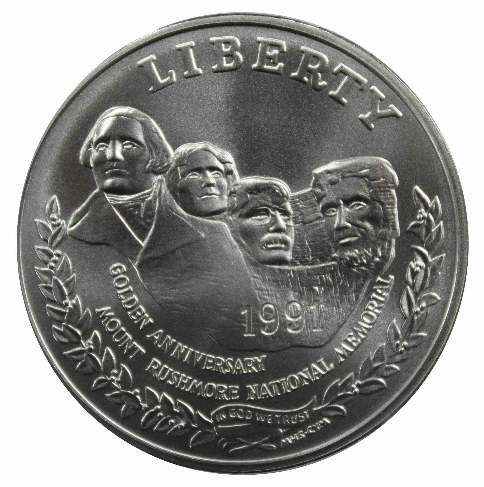 1 доллар. Национальный мемориал Рашмор. (Р). США 1991 год. Серебро. UNC