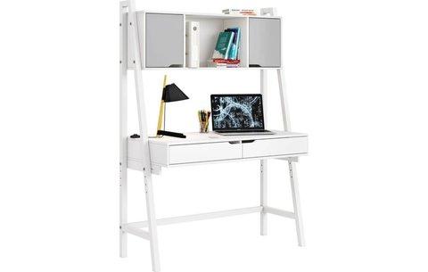 Стол письменный Polini kids Mirum 1446 высокий с полкой, белый/двери серые
