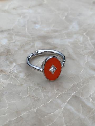 Кольцо Аврора из серебра с красной эмалью