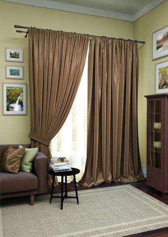 Комплект штор Авери с тюлем темно-коричневый