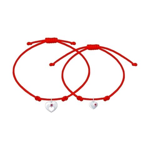 94050442- Парный браслет-красная нить с подвеской из серебра