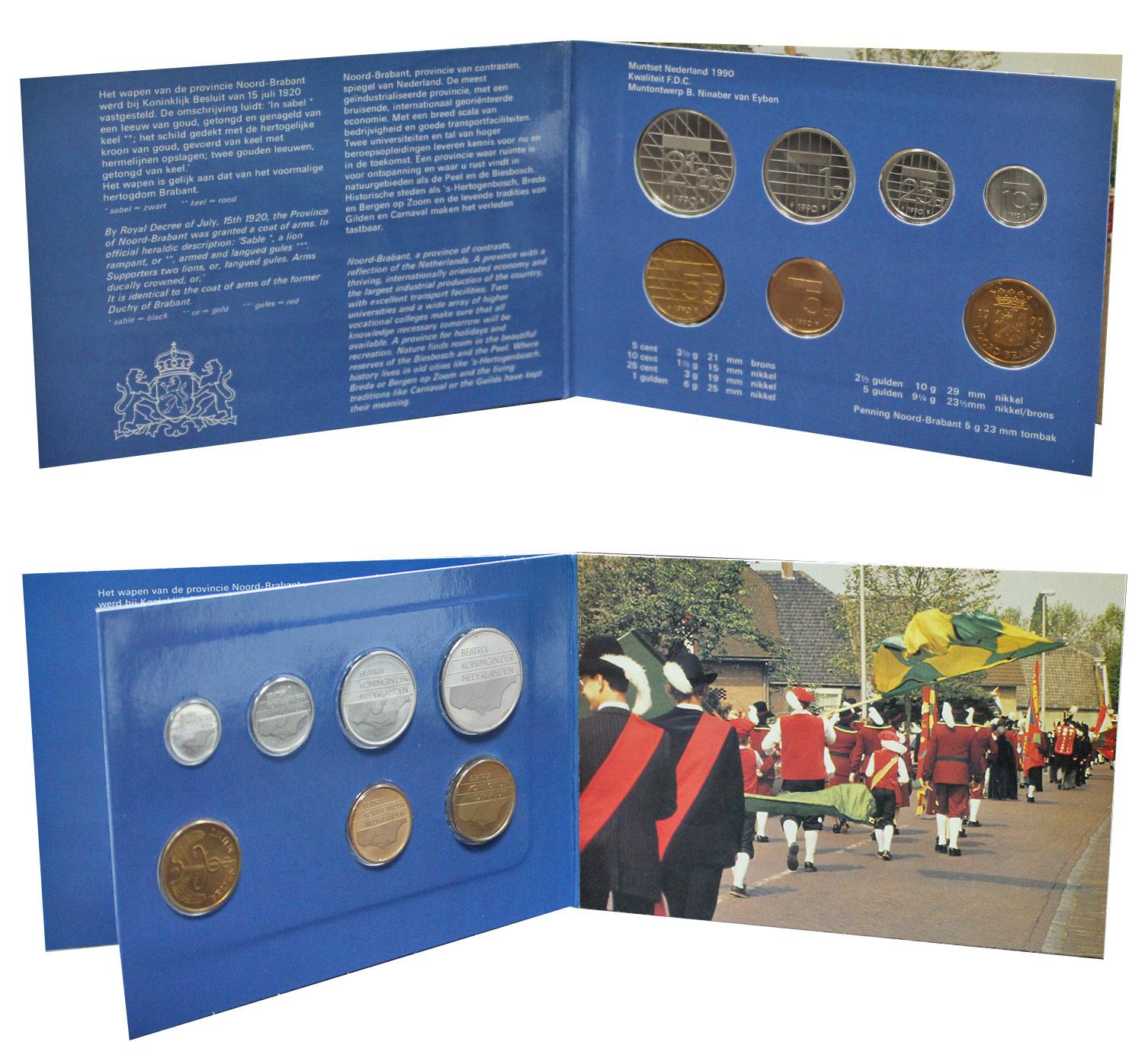 Набор монет Нидерландов 1990 UNC в оригинальной упаковке