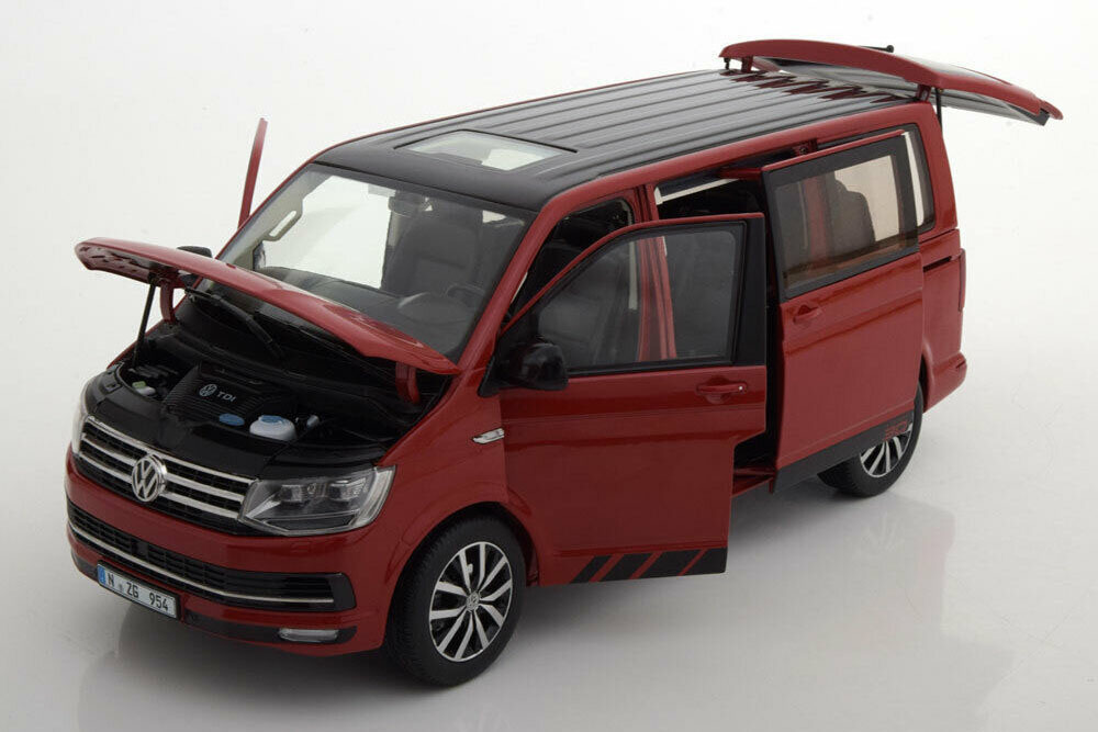 Коллекционная модель VOLKSWAGEN T6 MULTIVAN 30 YEAR EDITION 2019 RED/BLACK ROOF