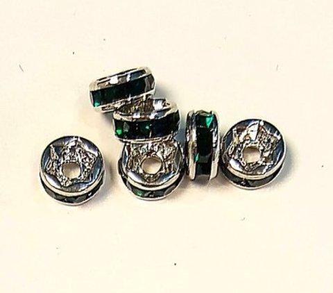 Рондель со стразами 6 мм. платина - прямая обжимка изумруд