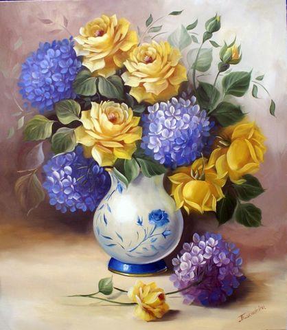 Алмазная Мозаика 40x50 Букет с желтыми розами в расписной вазе (арт. GA73074)