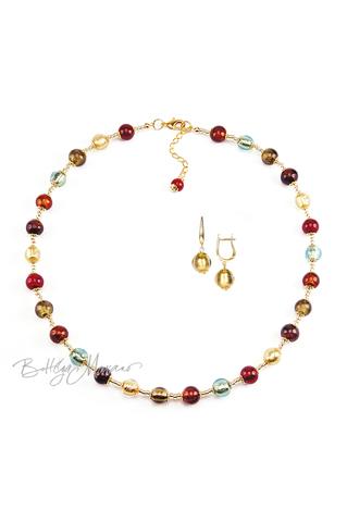 Комплект Carnavale Oro (золотистые серьги на серебре, ожерелье)