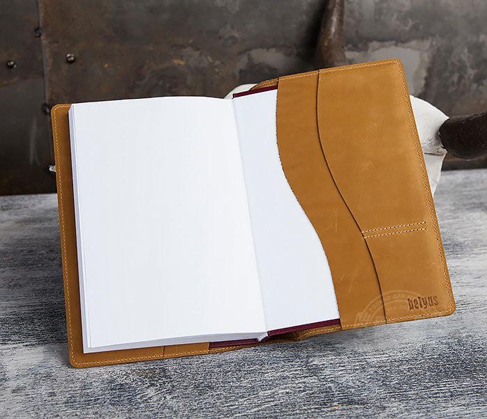 BY05-15-02 Кожаный ежедневник в красивой обложке «Волк», тиснение (А5) фото 07
