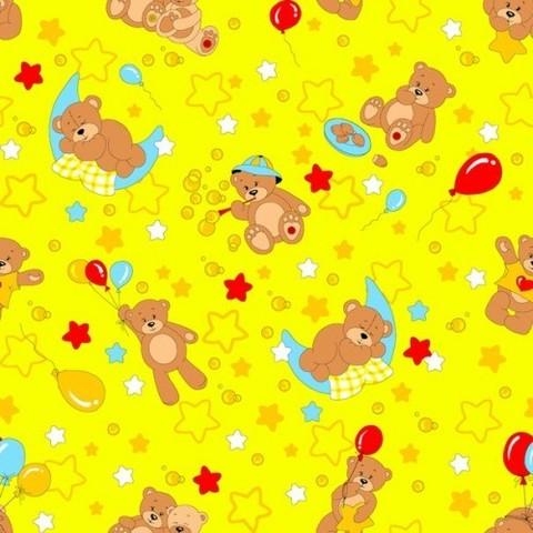 Бязь 120 гр/м2  детская 150 см 350/5 Мишки желтый