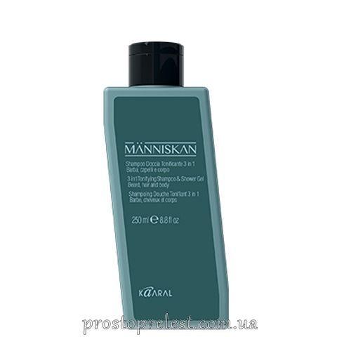 Kaaral Manniskan Tonifying Shampoo 3 in 1 - Тонізуючий шампунь для волосся, бороди і гель для душу
