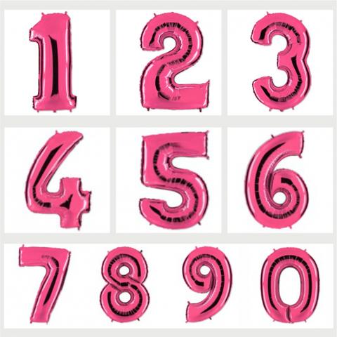 Цифра фольгированная фуксия 101 см.