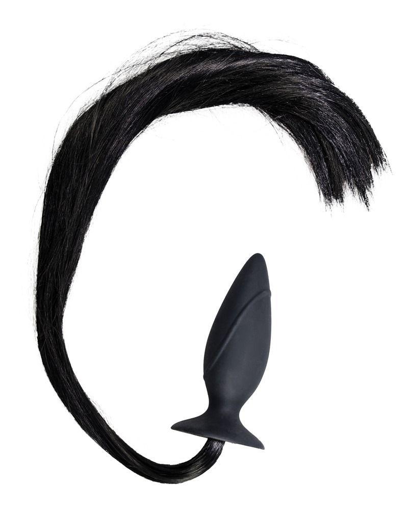 Чёрная анальная втулка с хвостом HORNY Pony - 12,5 см.