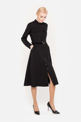 Фото черное платье расклешенного силуэта с карманами-обманками и застежкой на пуговицы по всей длине - Платье З394-714 (1)