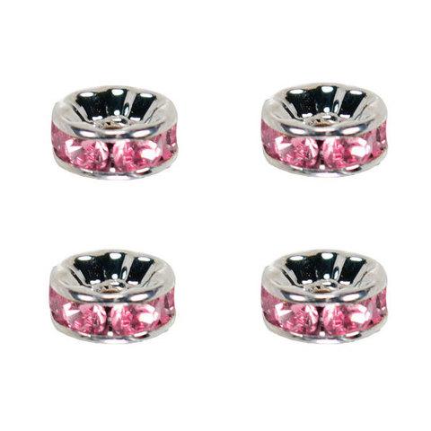 Рондель со стразами 6 мм. платина - прямая обжимка розовый