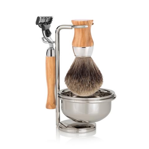 Набор бритвенный Mondial: станок, помазок, чаша, подставка; оливковое дерево